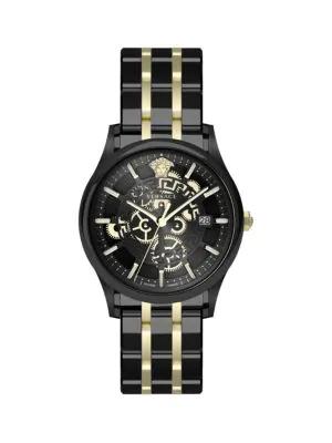 Versace Men's 44Mm Aiakos Watch W/ Bracelet Strap In Black