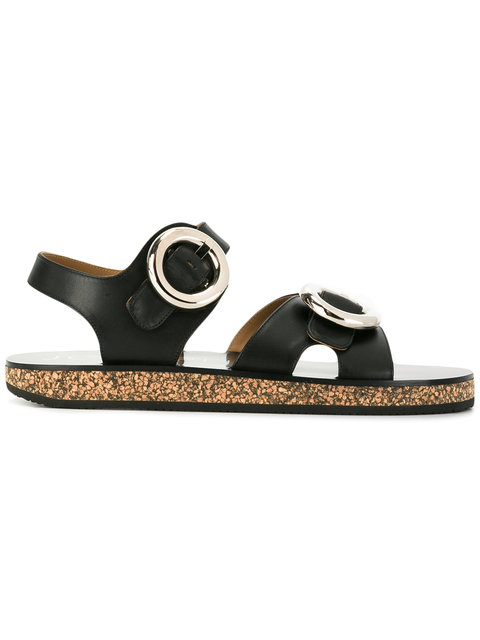 683c5b51742348 Joseph Buckled Leather And Cork Sandals In Black | ModeSens