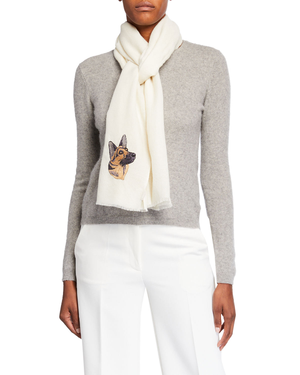K Janavi Dog Face Embroidered Cashmere Scarf In Ivory
