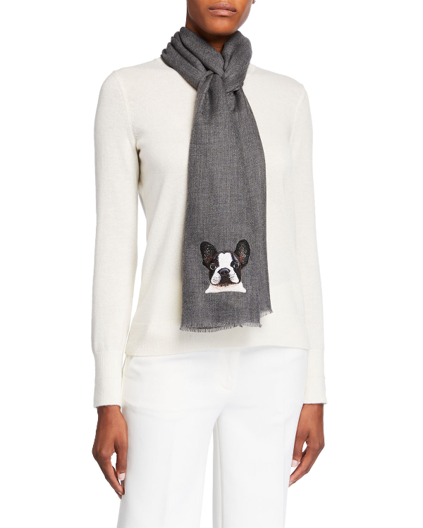 K Janavi Dog Face Embroidered Cashmere Scarf In Charcoal Gray