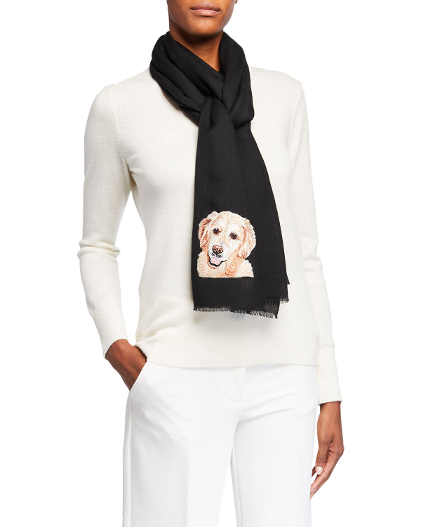 K Janavi Dog Face Embroidered Cashmere Scarf In Black