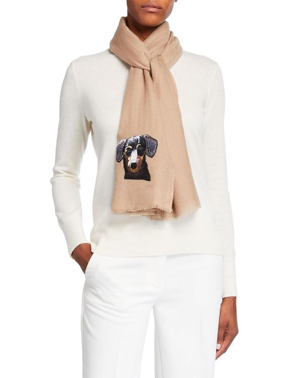 K Janavi Dog Face Embroidered Cashmere Scarf In Dark Natural