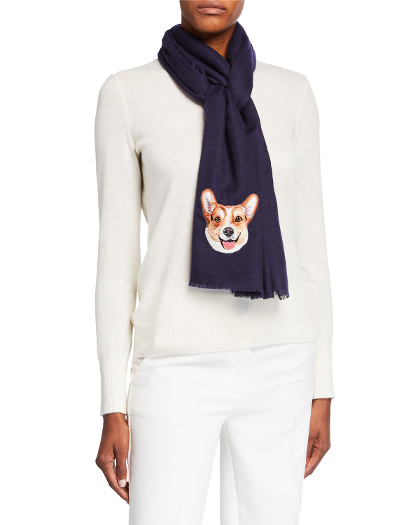 K Janavi Dog Face Embroidered Cashmere Scarf In Navy
