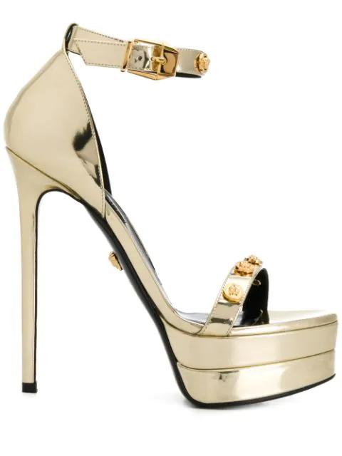 Versace Medusa Stud Sandals In Gold
