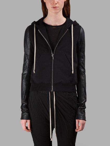 Rick Owens Drkshdw Leather Sleeve Hoodie