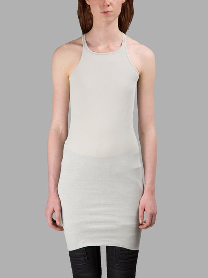Rick Owens Drkshdw Light Grey Ribbed Tank Top In Off