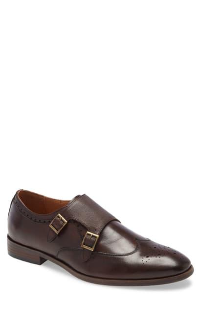 Ike Behar Men's Hand Made Double Monk Strap Men's Shoes In Brown