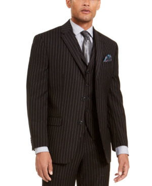 Sean John Men's Classic-fit Stretch Black Pinstripe Suit Separate Jacket