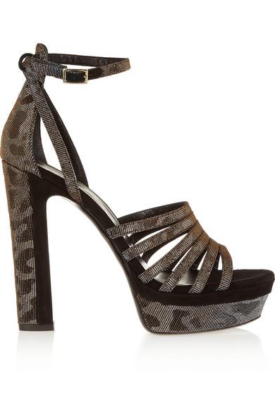 Tamara Mellon Woman Supreme Metallic Twill And Suede Sandals Anthracite In Gray