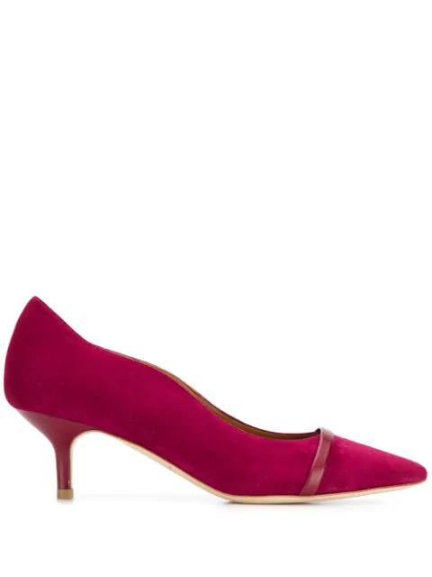Malone Souliers Suede Mid-Heel Pumps In Pink