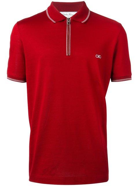 Salvatore Ferragamo Zip Front Polo Shirt