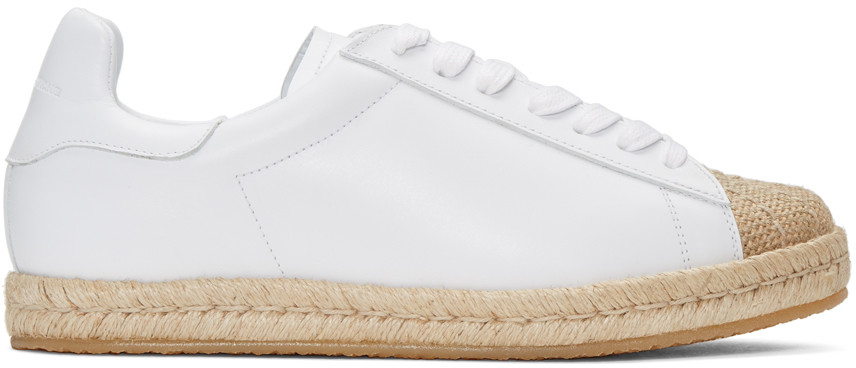 Alexander Wang Rian Espadrille Lace Up Sneakers In Optic White