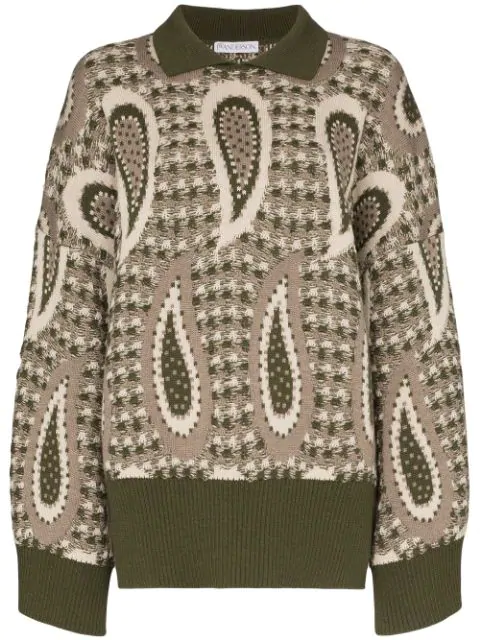 Jw Anderson Paisley Knitted Sweater In Green In Khaki
