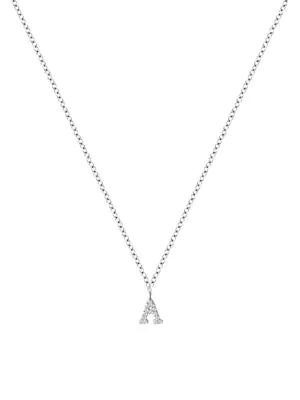 Meira T Women's 14k White Gold Diamond Intial Pendant Necklace In Initial A
