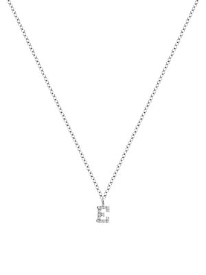Meira T Women's 14k White Gold Diamond Intial Pendant Necklace In Initial E