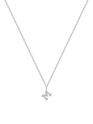 Meira T Women's 14k White Gold Diamond Intial Pendant Necklace In Initial M