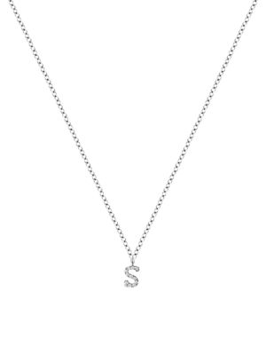 Meira T Women's 14k White Gold Diamond Intial Pendant Necklace In Initial S