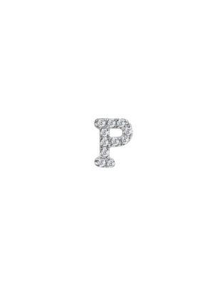 Meira T Women's 14k White Gold Diamond Intial Single Stud Earring In Initial P
