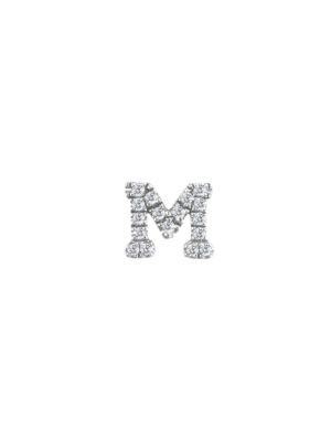 Meira T Women's 14k White Gold Diamond Intial Single Stud Earring In Initial M
