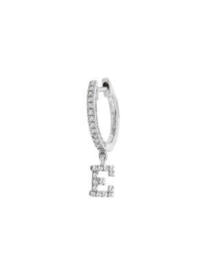 Meira T Women's 14k White Gold Diamond Intial Single Huggie Hoop Earring In Initial E