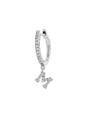 Meira T Women's 14k White Gold Diamond Intial Single Huggie Hoop Earring In Initial M