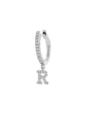 Meira T Women's 14k White Gold Diamond Intial Single Huggie Hoop Earring In Initial R