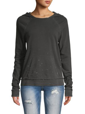 N:philanthropy Splatter Cotton Hoodie In Ghost Splatter