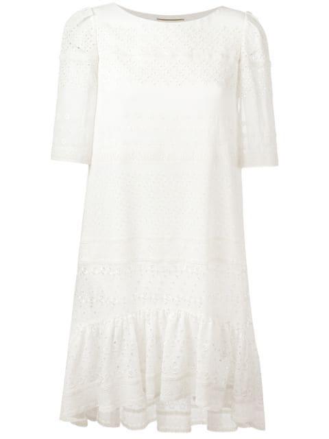 Saint Laurent Broderie Anglaise Silk-blend Dress In White