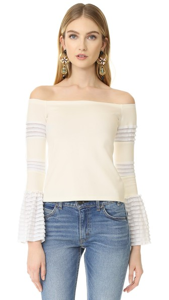 Alexis Gryffin Off-the-shoulder Bell Sleeve Top In White