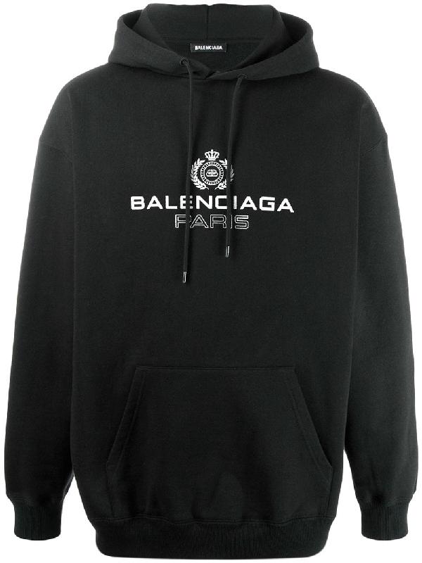 Balenciaga Print Cotton Hooded Sweatshirt In Black