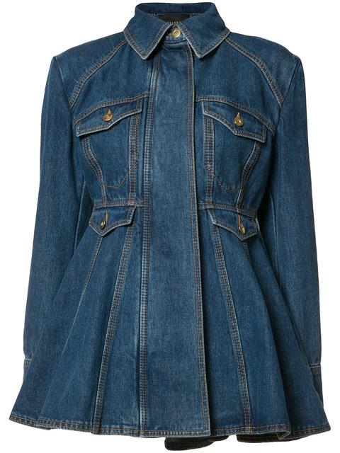 Ellery 'pro Protest' Peplum Hem Denim Jacket In Blue