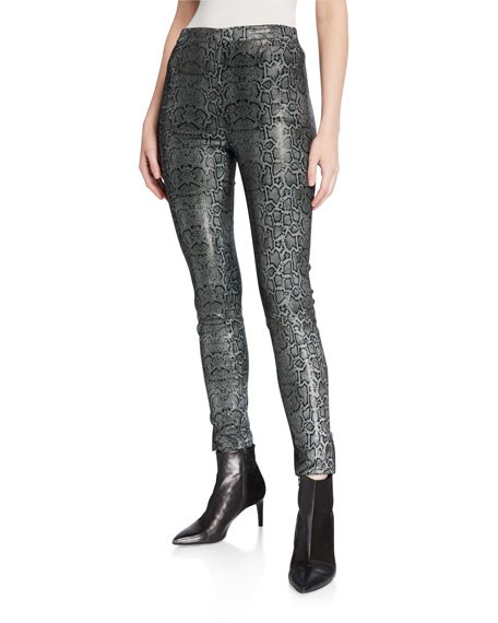 J Brand Darcy Pull-On Zip Skinny Leather Pants In Snail Foil Print In Snake Foil Print
