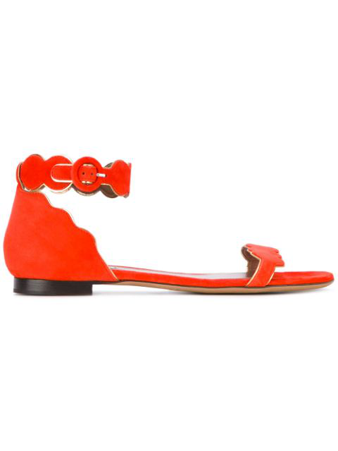 Tabitha Simmons Pearl Sandals In Yellow & Orange