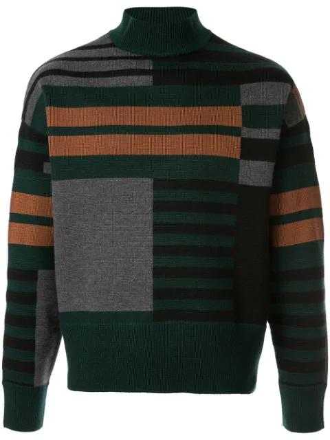 Cerruti 1881 Geometric Knitted Jumper In Green