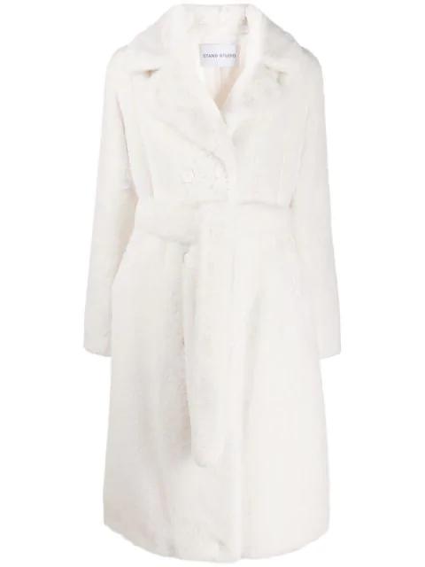 Stand Studio Tie Waist Trench Coat In White