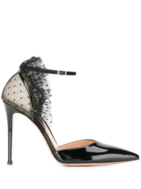 Gianvito Rossi Tulle And Patent Leather Pumps In Black+Black