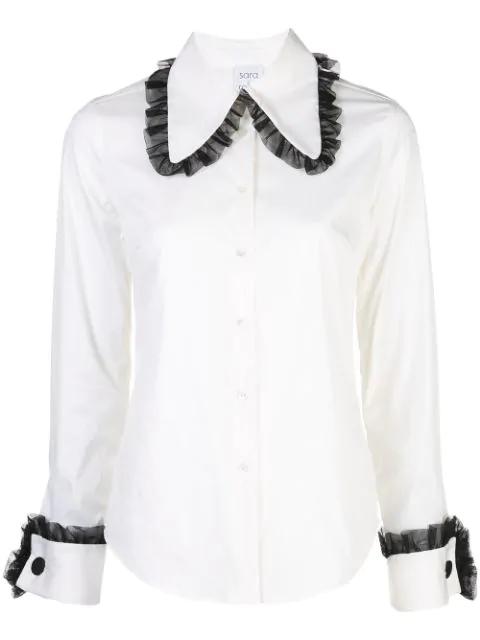 Sara Roka Tulle Trim Shirt In White