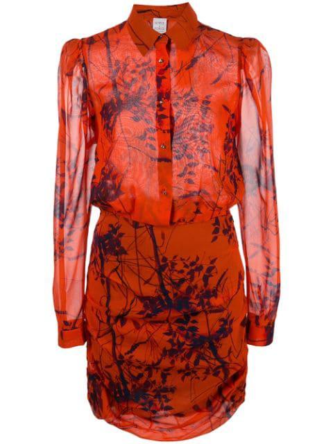 Sara Roka Thalie Leaf Print Dress In Orange