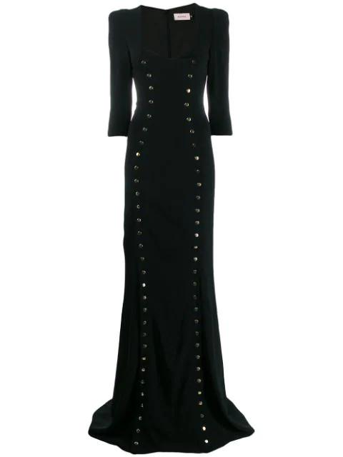 Murmur Studded Long Dress In Black