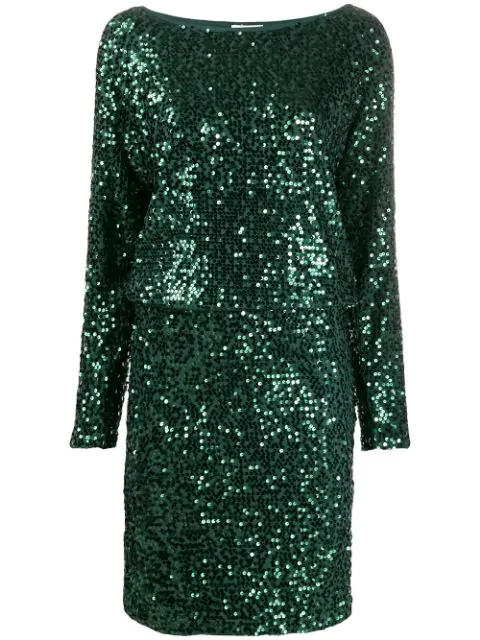P.a.r.o.s.h. Runway Sequin Dress In Green