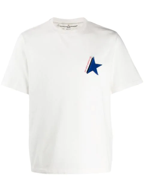 Golden Goose Star Patch T-Shirt In J1 White/Blue Star