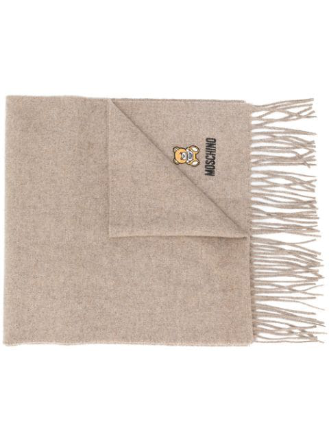 Moschino Logo-embroidered Fringed Scarf In Brown
