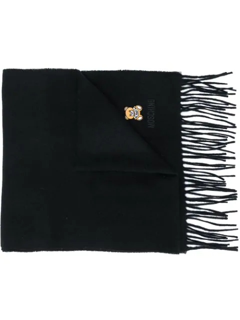 Moschino Logo-embroidered Fringed Scarf In Black