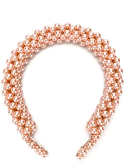 Shrimps Antonia Faux Pearl Headband In Bleached Apricot