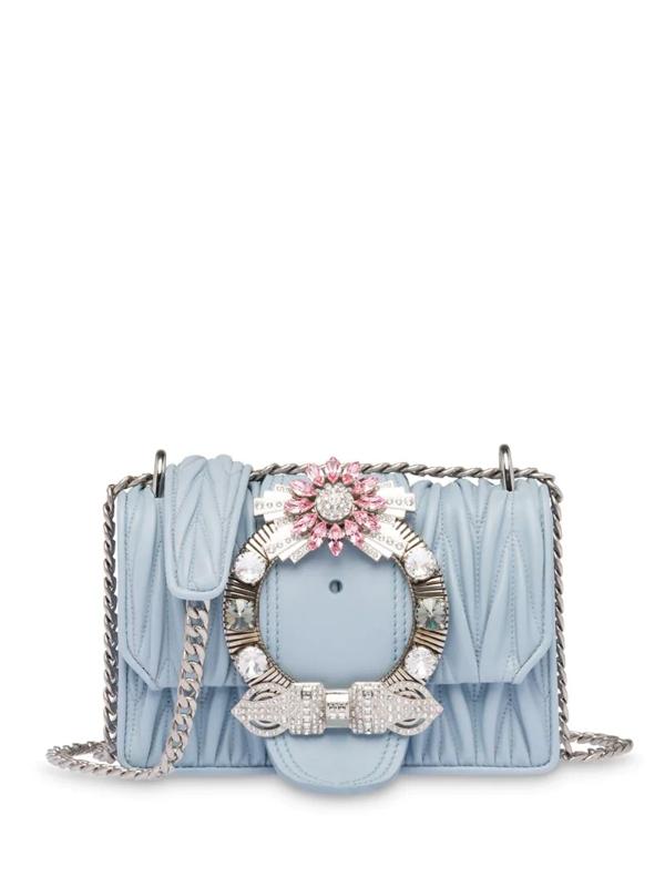 Miu Miu Miu Lady Matelassé Shoulder Bag In Blue