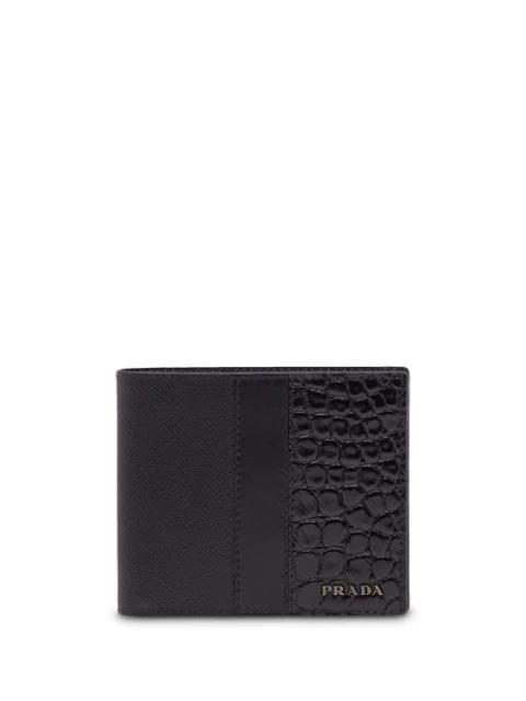 Prada Crocodile Embossed Wallet In Black