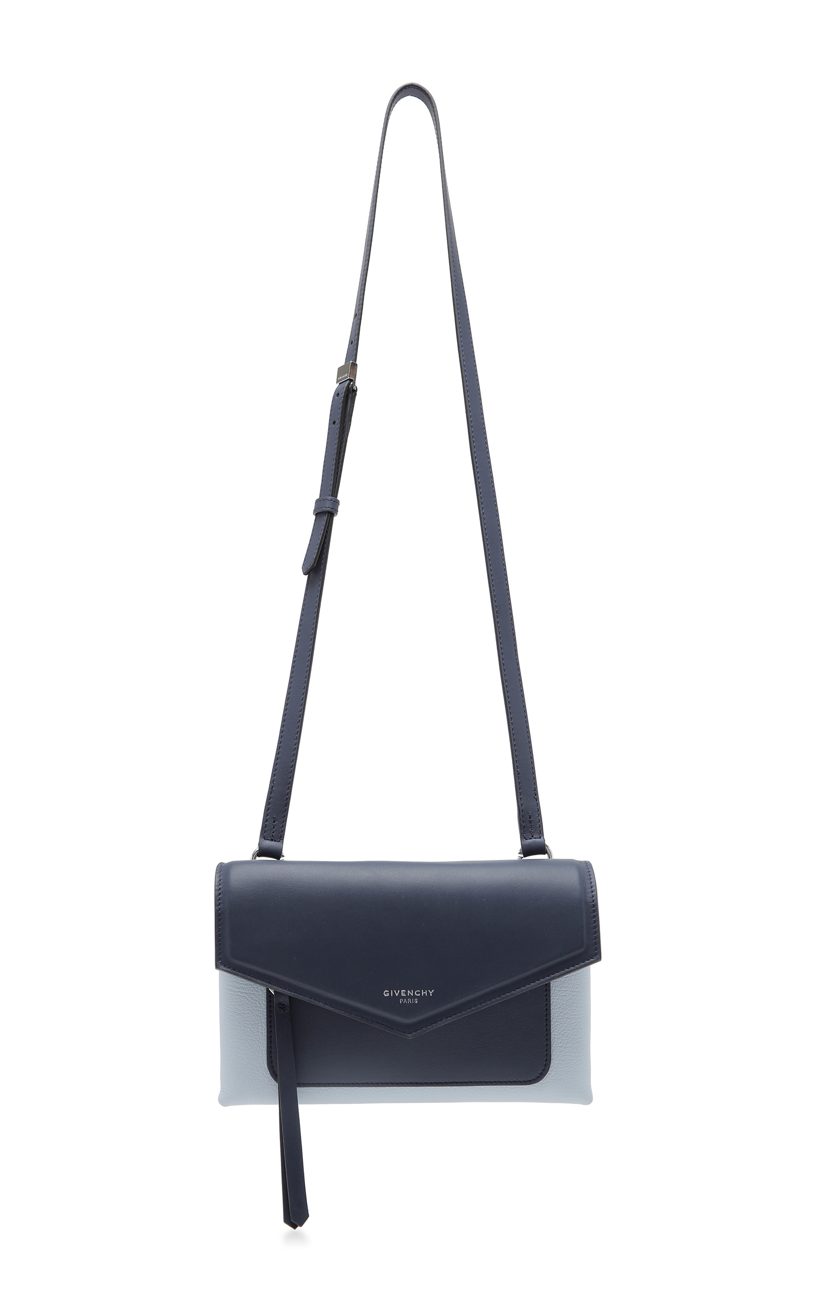 5fb5af13ed Givenchy Duetto Two-Tone Smooth And Textured-Leather Shoulder Bag In Navy   Light