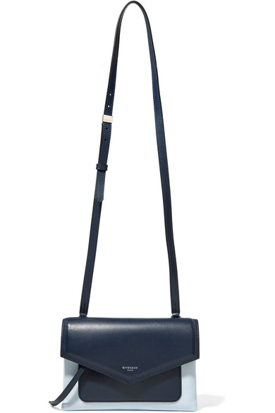 Givenchy Duetto Two-tone Smooth And Textured-leather Shoulder Bag In Black White
