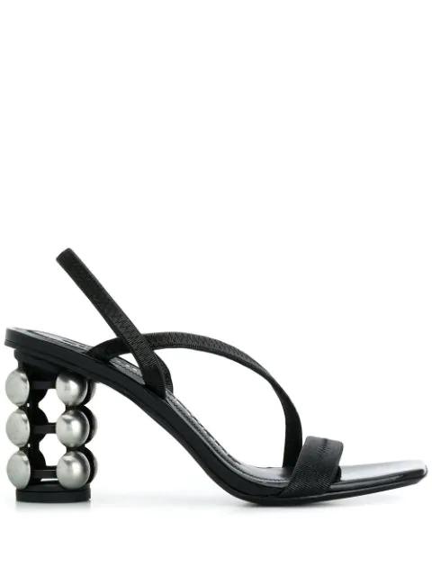 Alexander Wang Women's Deedee Patent Leather Cage Heel Sandals In Black