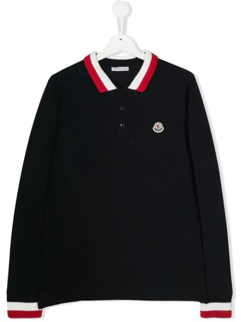 Moncler Kids' Long-sleeve Polo Half-button Shirt, Navy In 773 Navy